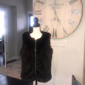 Express zip faux fur vest size large brown fur